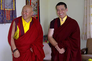 H.H. Karmapa with the head of the Drikung Kagyu Lineage